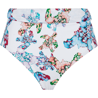 Women 014 Printed - Women Bikini Bottom High Waisted Brief Watercolor Turtles, White front