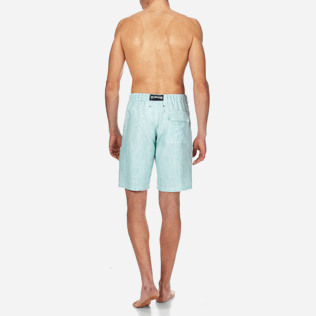 Men Shorts Graphic - Men Straight Linen Bermuda Shorts Micro Stripes, Veronese green backworn