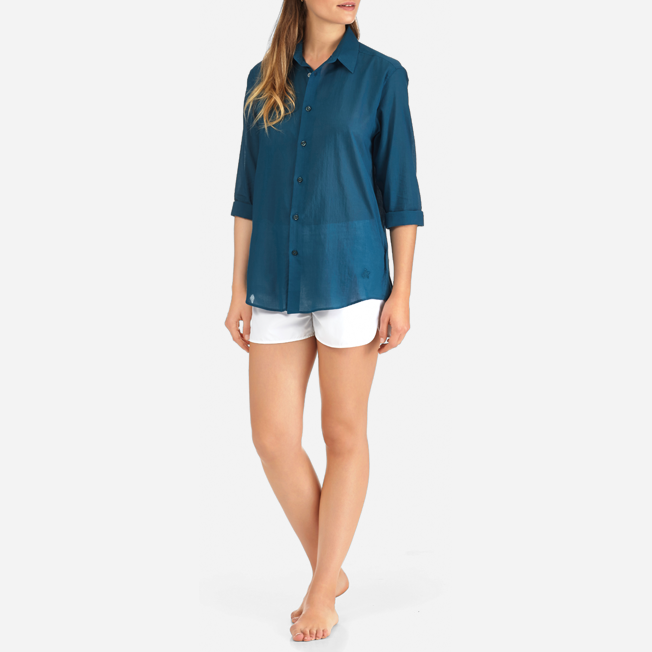 Vilebrequin - Camisa en gasa de algodón con estampado liso unisex - 8