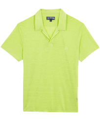 Men Others Solid - Men Linen Jersey Polo Shirt Solid, Coriander front