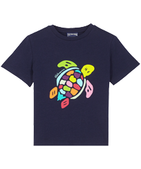 AUTRES Imprimé - T-shirt Enfant en Cotton Tortues Multicolores, Bleu marine front