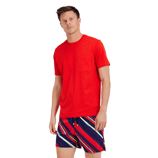 Men Others Solid - Men Pima Cotton Jersey T-shirt Solid, Poppy red frontworn