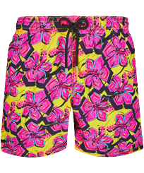 Men Classic Printed - Men Swim Trunks 1985 Crazy Flower, Lemon front
