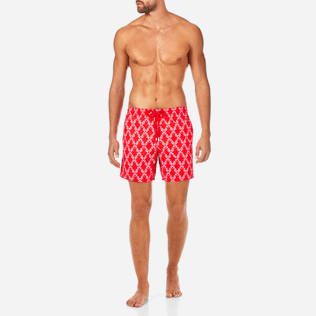 Men Classic / Moorea Printed - Valentine Day Seahorses Swim shorts, Poppy red frontworn