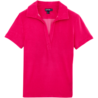 Donne Polo Unita - Polo in spugna tinta unita, Shocking pink front