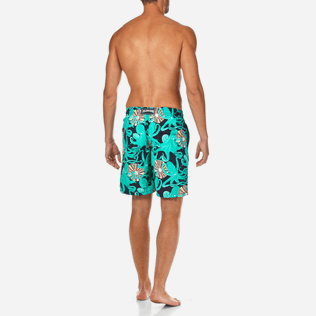 Men Long Printed - Octopussy et Coquillages Long Cut Swim shorts, Navy backworn