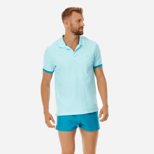 Men Others Solid - Men Cotton Pique Polo Shirt Solid, Aquamarine frontworn