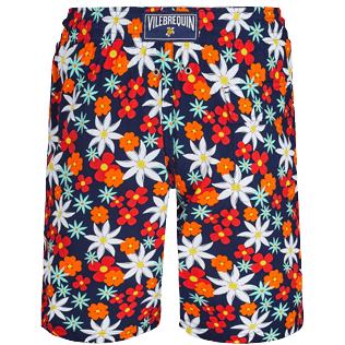 Men Long classic Printed - Men Swim Trunks Long 1977 Spring Flowers, Navy back