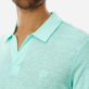 Men Others Solid - Men Linen Jersey Polo Shirt Solid, Mint supp1
