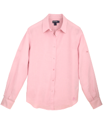 Women Others Solid - Women long sleeves Linen Shirt Solid, Peony front