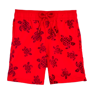Boys Classic / Moorea Printed - Flocked Turtles Swim shorts, Poppy red front
