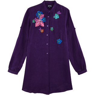Women Others Embroidered - Women stand-up collar embroidered Linen Long Shirt Porto Rico, Reddish purple front