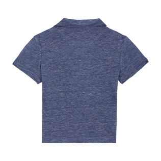Niños Autros Liso - Polo de lino liso para niño, Dark heather blue back