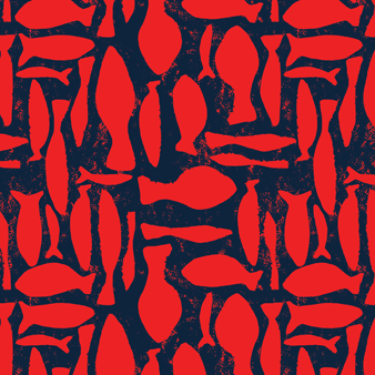 Silex Fishes Swim shorts, Poppy red pattern