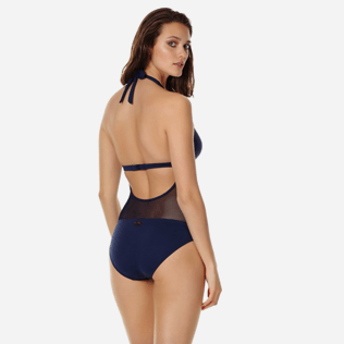 Women One piece Solid - Women One Piece Swimsuit Halter Solid, Navy backworn