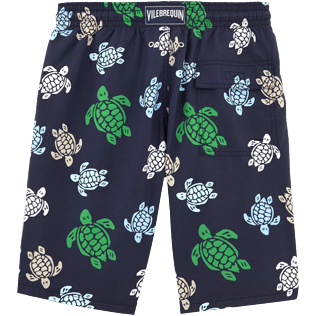 Men Long Printed - Multicolor Turtles Long Cut Swim shorts, Navy back