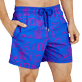 Men Classic Printed - Men Swimwear Cabines de plage, Royal blue supp1