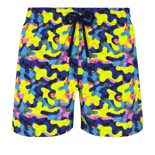 Men Stretch classic Printed - Men Swimwear Stretch Neo camo Turtles, Neon yellow front