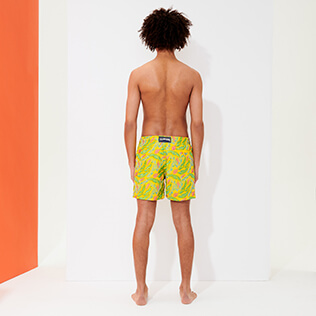 Men Classic Embroidered - Men Swimwear Embroidered Leaves in the wind - Limited Edition, Safran backworn