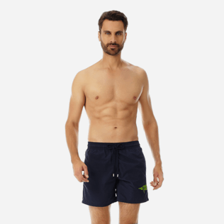 Men Embroidered Embroidered - Men Placed Embroidery Swimwear Belle ou Gars, Navy frontworn