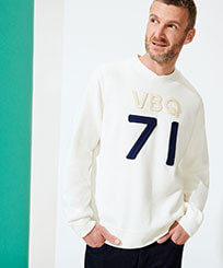 Men Others Solid - Men Crew Neck Sweater VBQ71, Off white frontworn