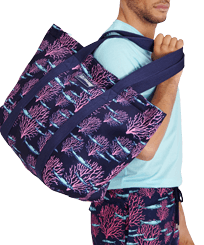 Others Printed - Large Beach Bag Coral & Fish, Navy frontworn