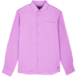 Men Others Solid - Men Linen Shirt Solid, Cyclamen front