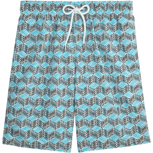 Men Long Printed - Fishes Cube Long Cut Swim shorts, Azure front