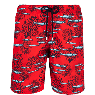 Men Long classic Printed - Men Swimwear Long Coral & Fish, Medicis red front