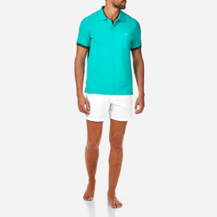 Men Others Solid - Cotton pique polo, Veronese green frontworn