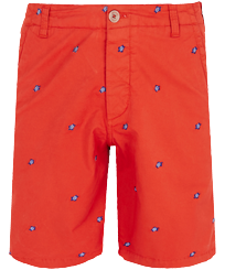 Men Others Embroidered - Men Chino Embroidered Bermuda Shorts Micro Ronde des Tortues, Medlar front