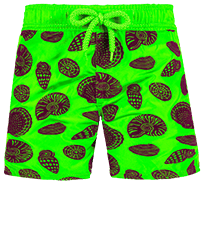 Jungen Andere Bedruckt - Boys Ultra-light and packable Swimwear Shell Game Flocked, Neon grün frontworn