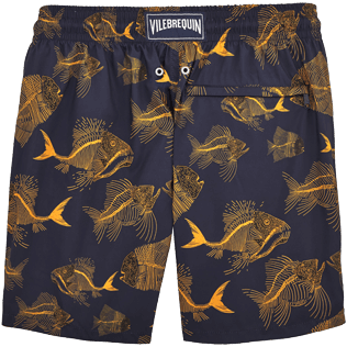 Men Classic / Moorea Printed - Prehistoric Fish Lightweight Packable Swim shorts, Navy back