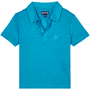 Boys Others Solid - Linen Boys Polo Shirt Solid, Light azure front