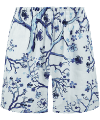 Women Others Printed - Women Linen Bermuda Shorts Cherry Blossom, Sea blue front