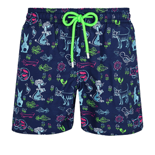 Men Classic Printed - Men Swimwear Rabbits and Poodles - Florence Broadhurst, Navy front
