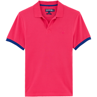 Men Polos Solid - Solid Cotton pique polo, Shocking pink front