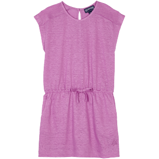 Girls Others Solid - Girls Linen Dress Solid, Pink berries front