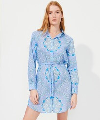 Women Others Printed - Women Cotton Shirt Dress Mandala, Lagoon frontworn