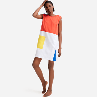 Women Others Solid - Women multicolor sleeveless dress - Vilebrequin x JCC+ - Limited Edition, White frontworn