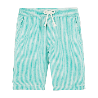 Boys Others Graphic - Boys Linen Bermuda Shorts Micro Stripes, Veronese green front