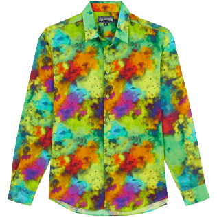 Autros Estampado - Unisex Cotton Voile Light Shirt Holi Party, Batik azul front