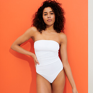 Women One piece Solid - Women Bustier One piece Swimsuit Solid, White supp2