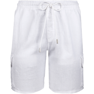 Men Shorts Solid - Solid Cargo linen bermuda shorts, White front
