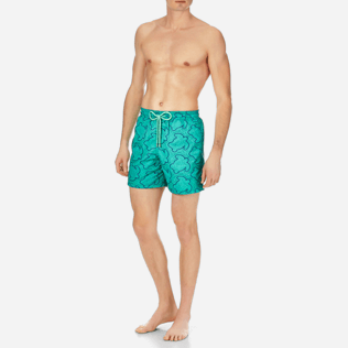 Men Embroidered Embroidered - Men Swimtrunks Embroidered Hypnotic Turtles - Limited Edition, Veronese green frontworn
