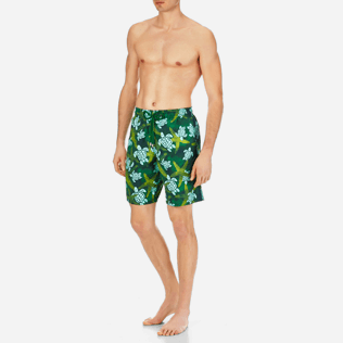 Men Long classic Printed - Men Long Swimtrunks Starlettes & Turtles Vintage, Malachite green frontworn