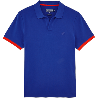 Men Others Solid - Men Cotton Pique Polo shirt Solid, Neptune blue front