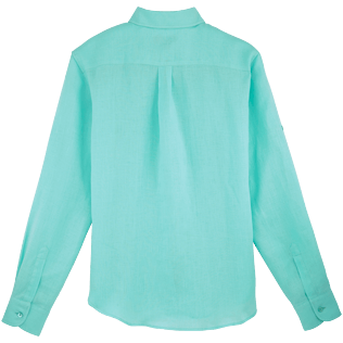 Women Others Solid - Women long sleeves Linen Shirt Solid, Lagoon back
