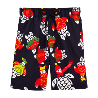 Boys Classic / Moorea Printed - Sweater Turtles Swim Shorts, Navy front