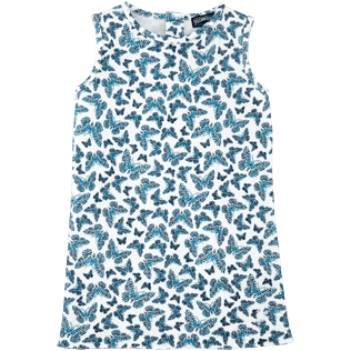 Girls Dresses Printed - Butterflies Sleeveless dress, Azure front